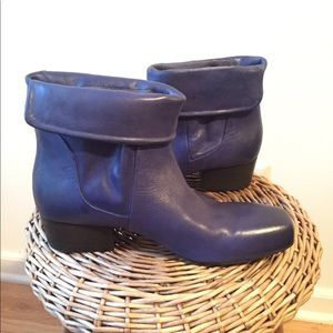 settima Shoes - Women's Blue Leather Ankle Boots Sz 39 Italy